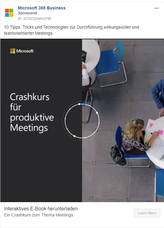 Coronavirus Social Media Anzeige Microsoft 365 Business