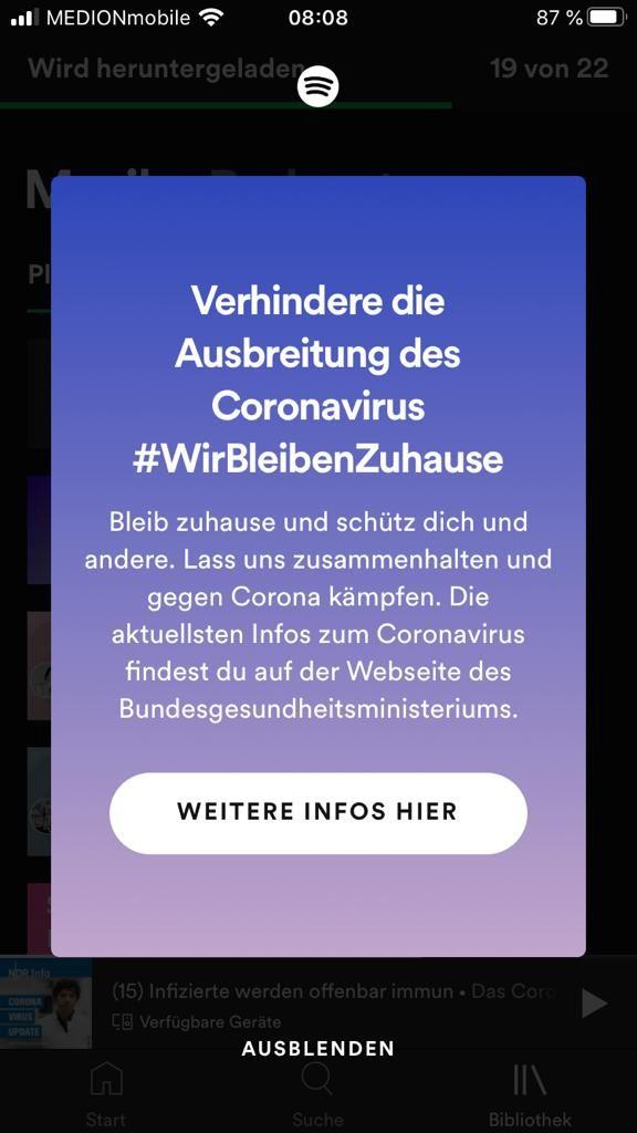 Spotify Informationen Corona